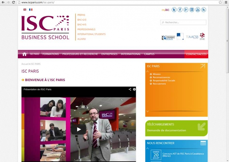 Nouveau site internet de l'ISC Paris