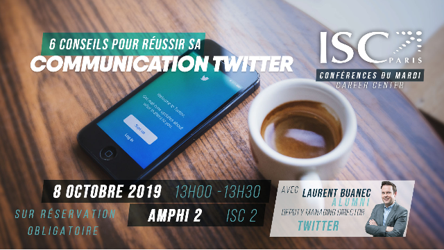 Laurent Buanec (ISC Paris 97), DGA de Twitter France fait sa mini-conférence à l'ISC Paris le 8 octobre